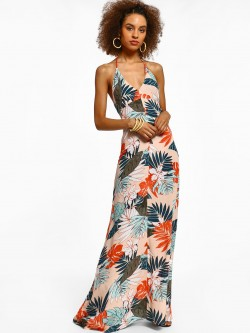 Miaminx Palm Print Halter Maxi Dress