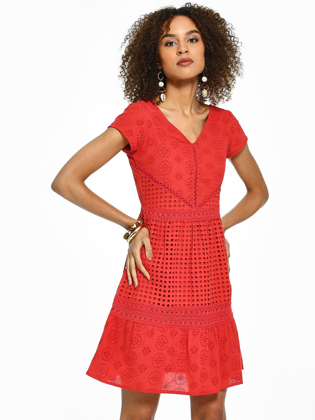 Rena Love Rust All Over Broderie Shift Dress 1