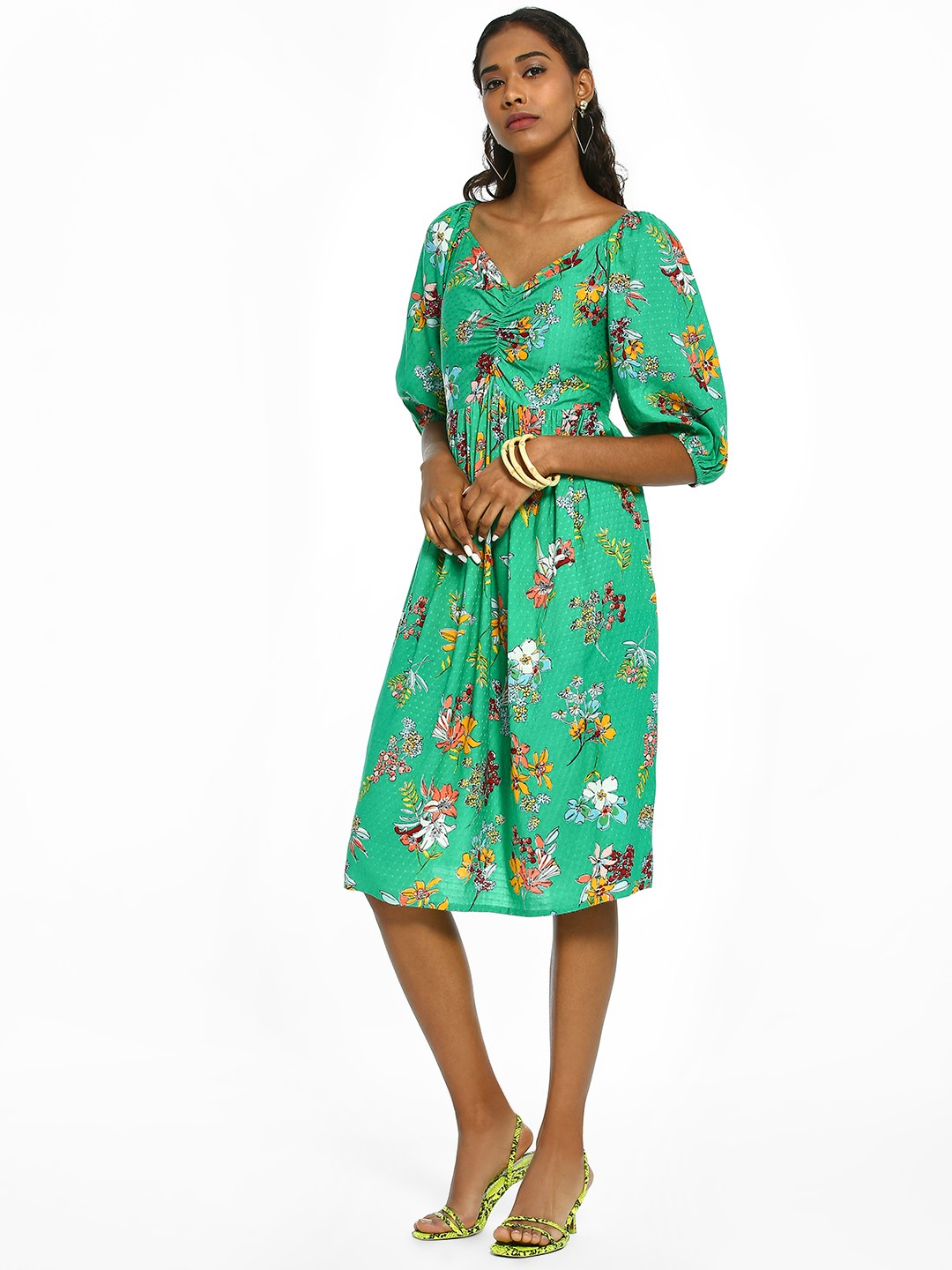 Rena Love Green Floral Print Smocked Midi Dress 1
