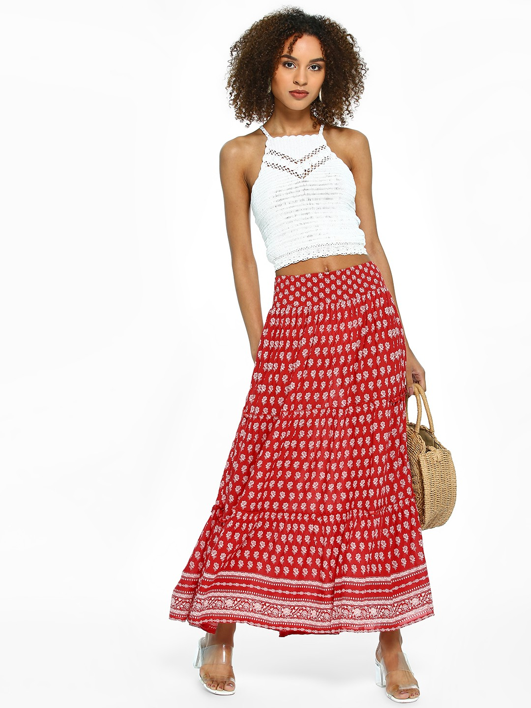 Rena Love Red Floral Print Maxi Skirt 1