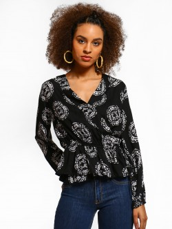 Kisscoast Batik Print Wrap Top