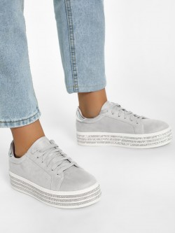 KOOVS Diamante Embellished Elevated Suede Sneakers