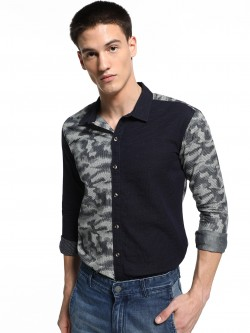 REALM Digital Camo Pindot Panelled Shirt