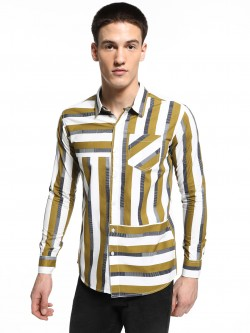 REALM Mix Stripe Print Panelled Shirt
