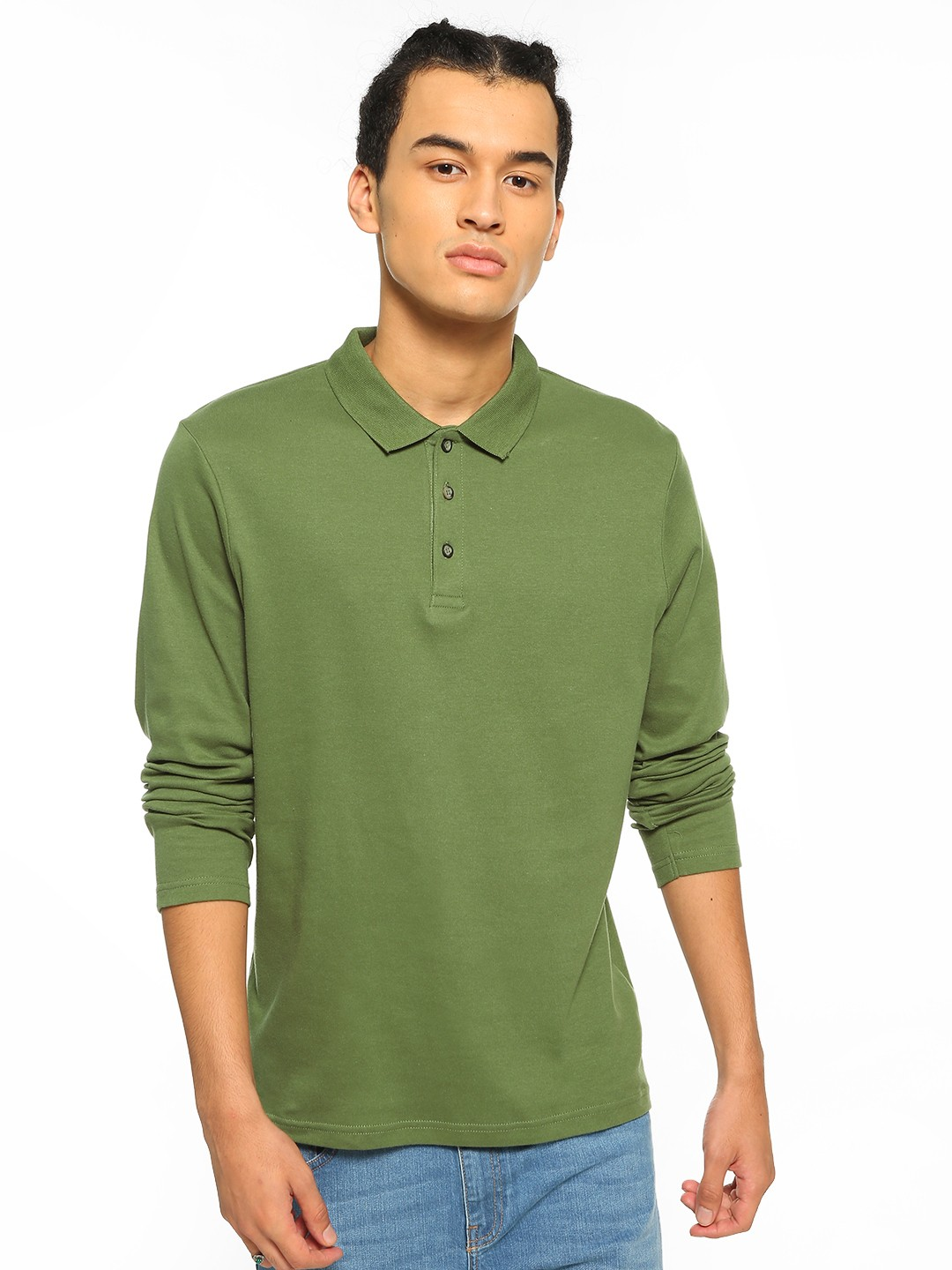 Blue Saint Green Basic Long Sleeve Polo Shirt 1