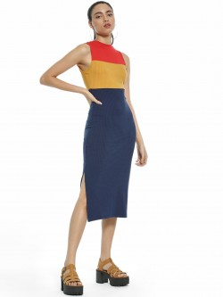 KOOVS Colour Block Ribbed Midi Dress