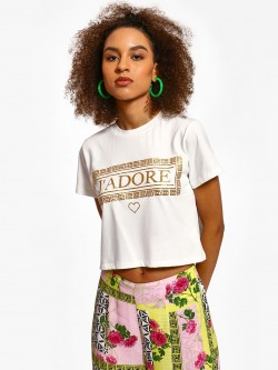 KOOVS Text Print Glitter Crop T-Shirt