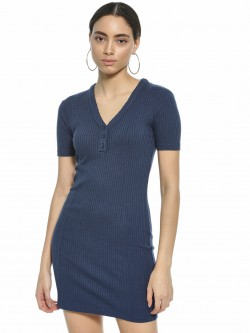 KOOVS V-Neck Ribbed Bodycon Dress