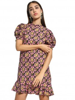 KOOVS Baroque Print Shift Dress