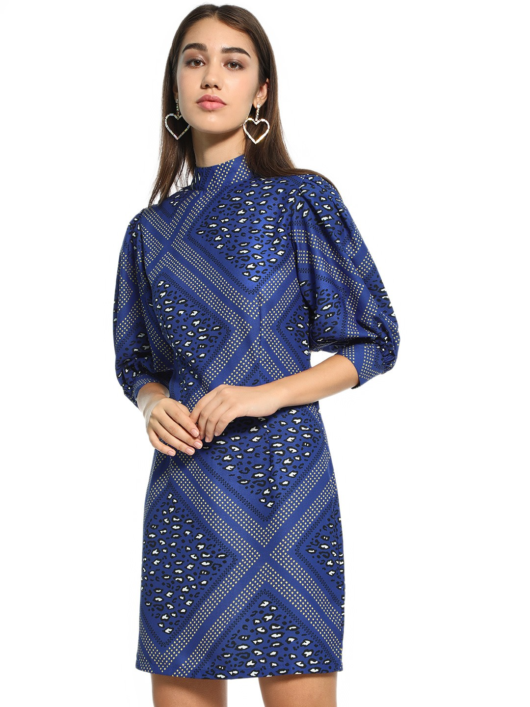 KOOVS Blue Printed Balloon Sleeves Shift Dress 1