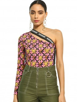 KOOVS Baroque Print One Shoulder Bodysuit
