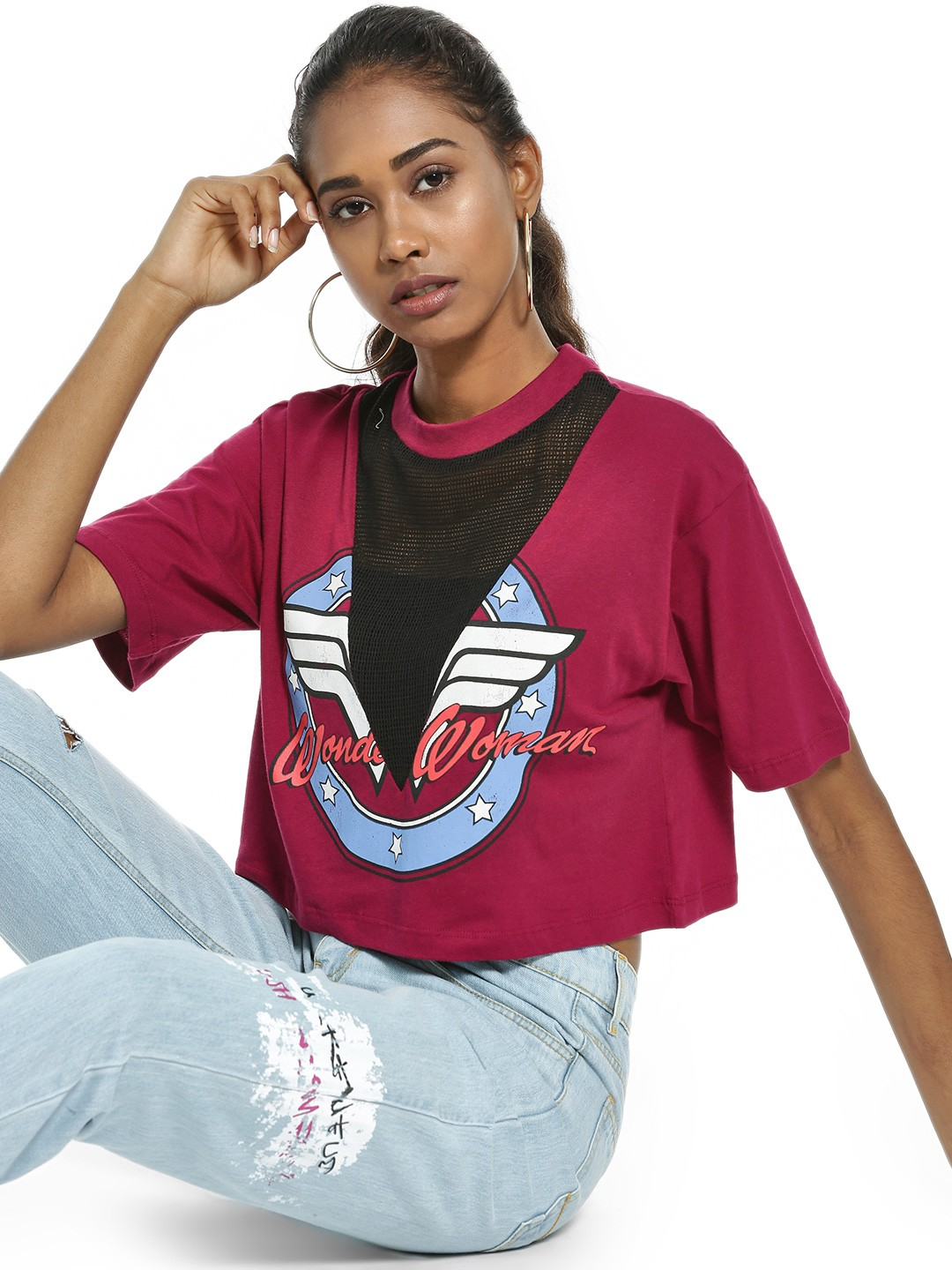 Free Authority Wine Wonder Woman Print Mesh Crop T-Shirt 1