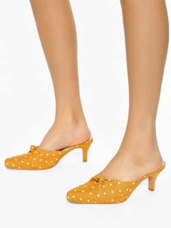 Shoe that fits You Polka Dot Print Kitten Heeled Sandals