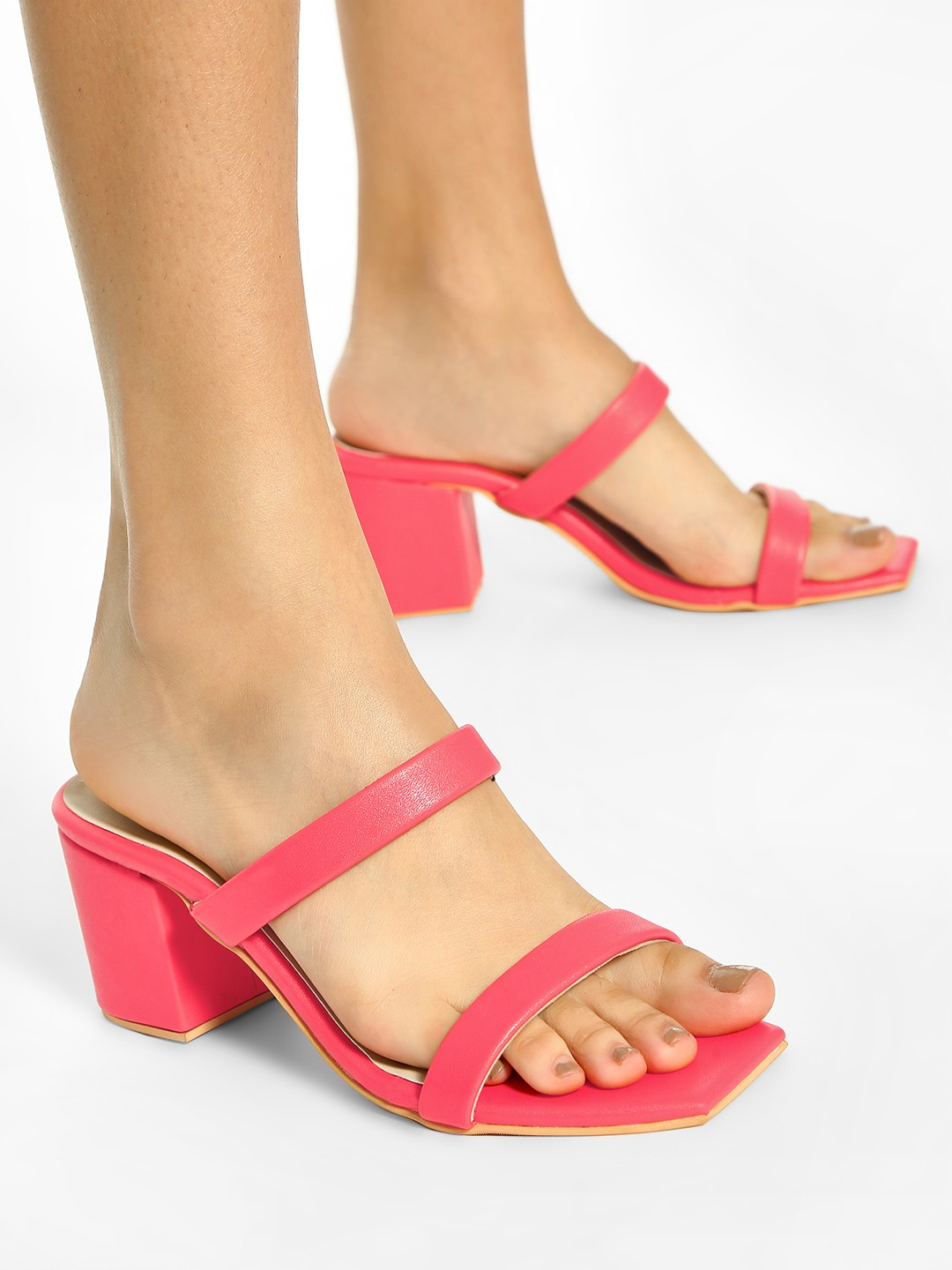 Shoe that fits You Red Double Strap Heeled Sandals 1