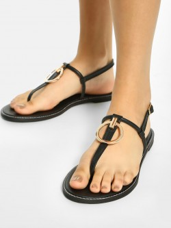 Shoe that fits You Ring Embellished T-Strap Flat Sandals