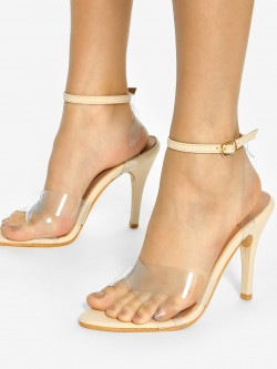 Shoe that fits You Transparent Criss-Cross Heeled Sandals