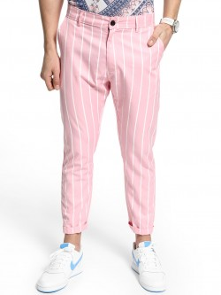 KOOVS Pinstripe Slim Cropped Trousers