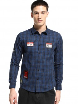 KOOVS Badge Applique Check Shirt