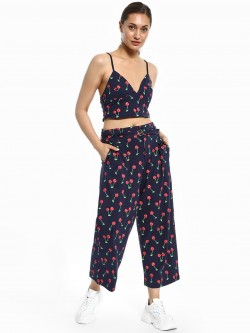 Spring Break Cherry Print Cropped Trousers