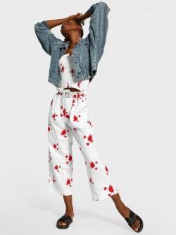 Spring Break Crab Print Cropped Trousers