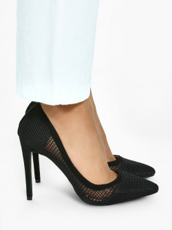 KOOVS Mesh Overlay Heeled Pumps