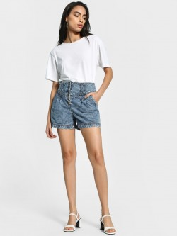 K Denim KOOVS Stone Wash Button-Up Waist Shorts