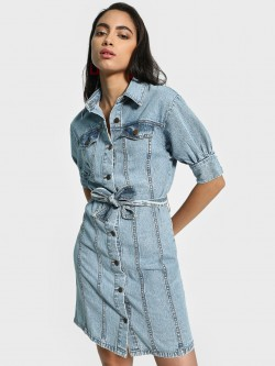 K Denim KOOVS Acid Wash Collared Denim Dress