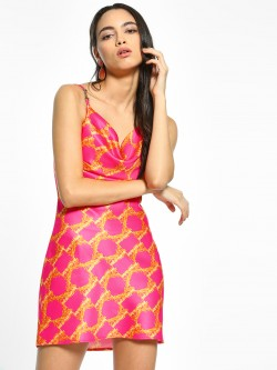 KOOVS Baroque Print Mini Shift Dress