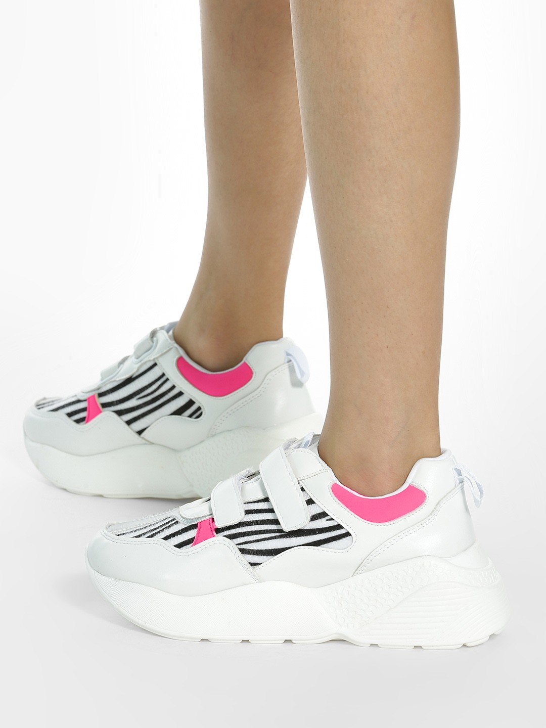 My Foot Couture Pink Metallic Zebra Panel Velcro Trainers 1