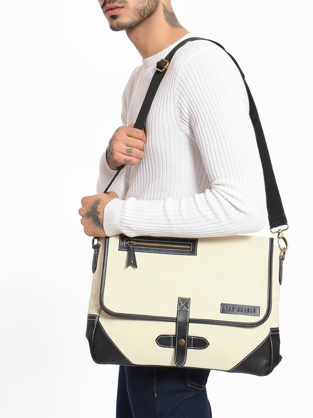 Tan Shades WHITE/BLACK PU Panel Messenger Bag 1