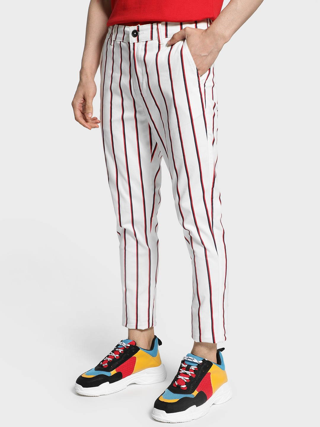 TRUE RUG Multi Vertical Stripe Slim Trousers 1