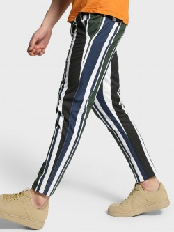 TRUE RUG Vertical Multi-Stripe Skinny Trousers