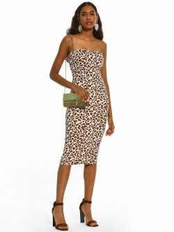Iris Leopard Print Tube Midi Dress