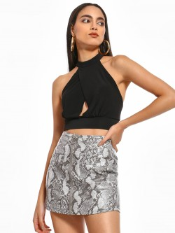 Iris Halter Neck Backless Crop Top