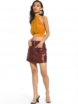 Iris Faux Leather Snakeskin Mini Skirt