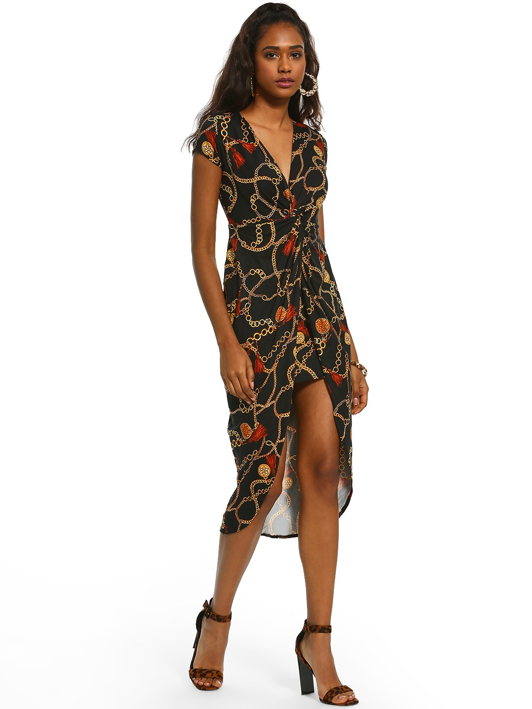 Iris Black Baroque Chain Print Asymmetric Dress 1