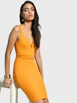 Iris Plunge Neck Mini Bodycon Dress