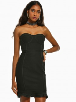 Iris Fish Cut Bandeau Bodycon Dress