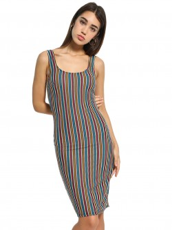 Iris Vertical Stripe Sleeveless Bodycon Dress