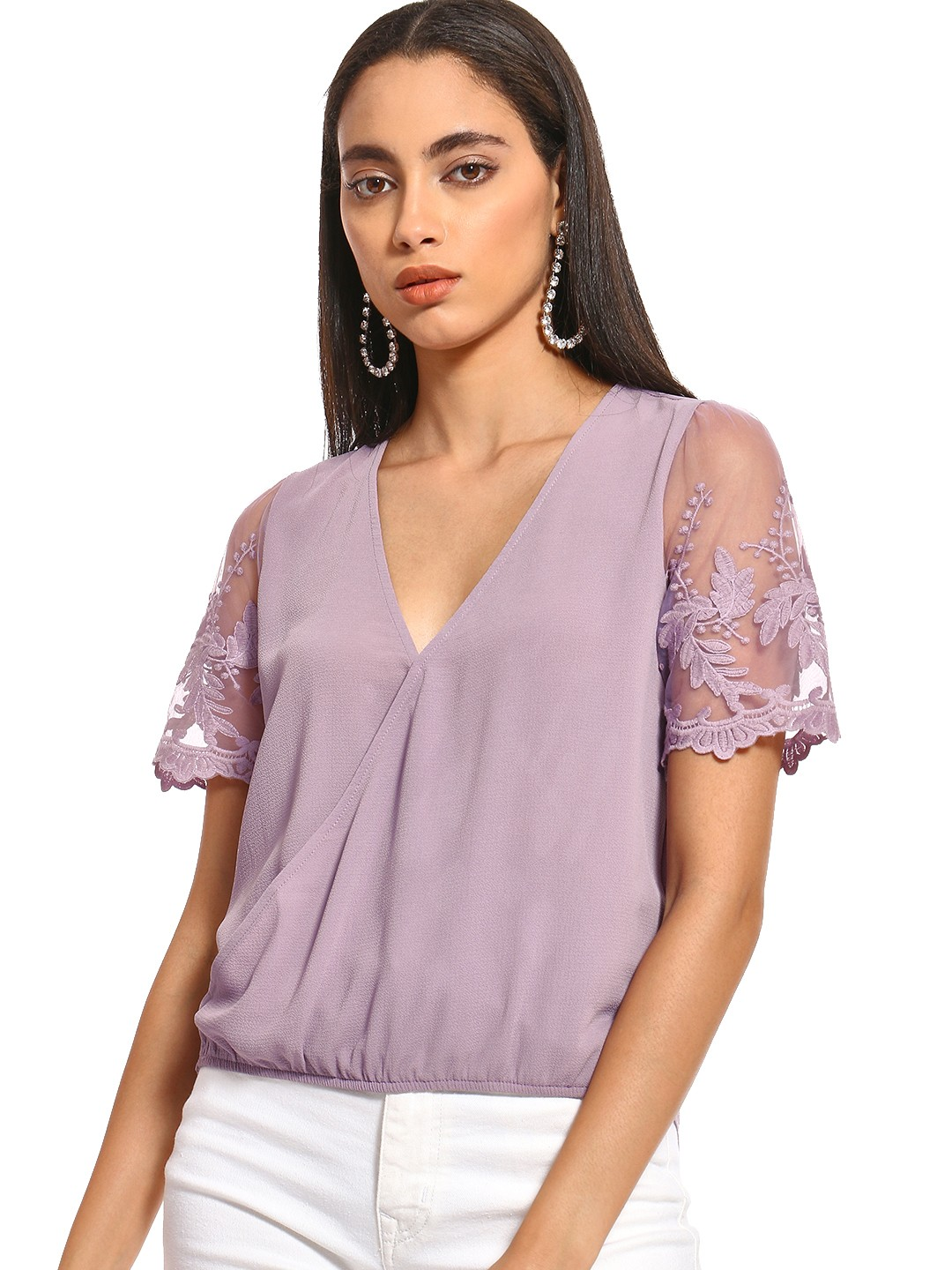 Iris Lavender Lace Embroidered Sleeve Wrap Top 1