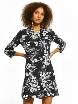 Femella Floral Ruffle Mandarin Collar Dress