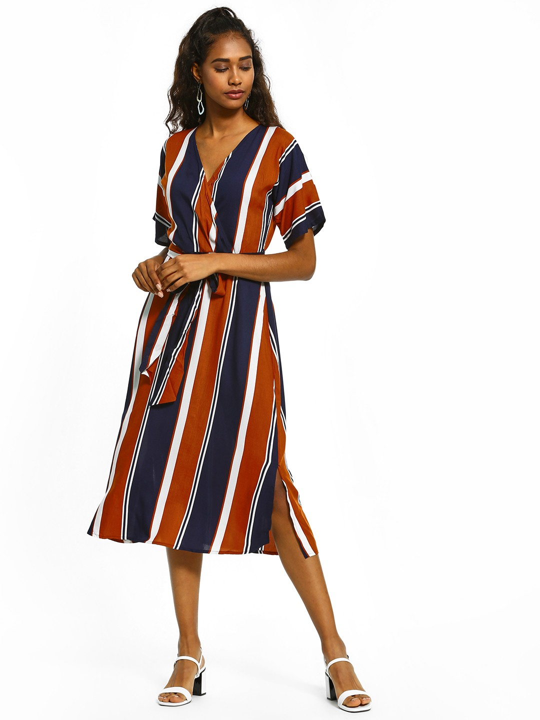 Femella Multi Colour Block Stripe Belted Dress 1