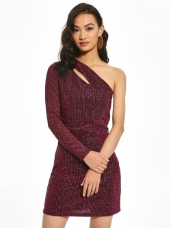 KOOVS One Shoulder Shimmer Bodycon Dress
