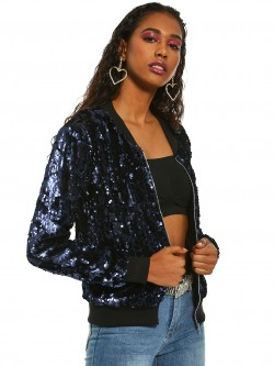 KOOVS Sequin Velour Bomber Jacket