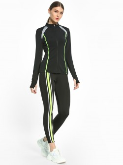 K ACTIVE KOOVS Contrast Stripe Panel Cropped Leggings