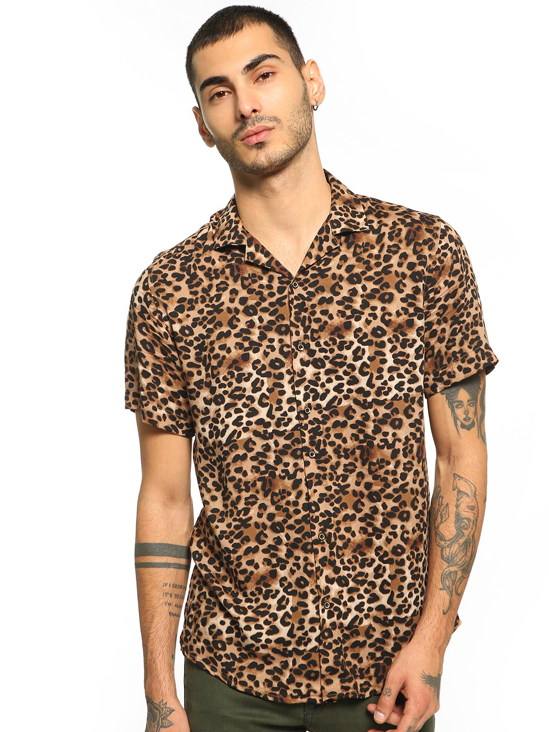 Green Hill Multi Leopard Print Cuban Collar Shirt 1