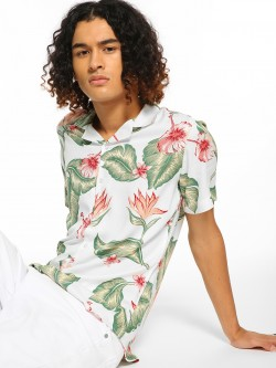 Green Hill Tropical Floral Print Casual Shirt
