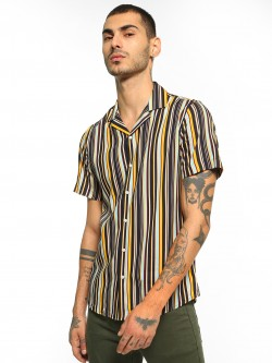 Green Hill Vertical Stripe Cuban Collar Shirt