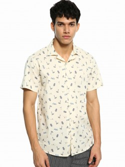 Green Hill Beach Print Cuban Collar Shirt