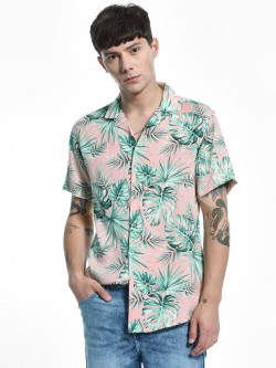 Green Hill Palm Print Cuban Collar Shirt